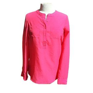 Old Navy Bold Pink Chiffon Button Front Blouse